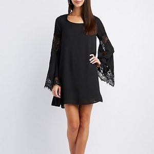 DO + BE Black Lace Insert Bell Sleeve Shift Dress